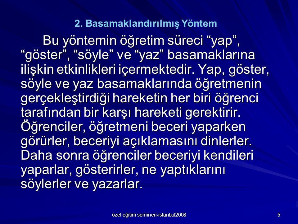 """özel eğitim semineri-istanbul2008 5 Bu yöntemin öğretim süreci """"yap"""", """"göster"""", """"söyle"""" ve """"yaz"""" basamaklarına ilişkin etkinlikleri içermektedir. Yap,"""