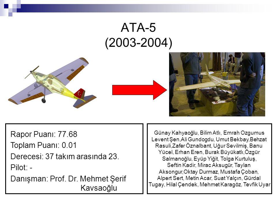 ATA-5 (2003-2004) Rapor Puanı: 77.68 Toplam Puanı: 0.01 Derecesi: 37 takım arasında 23. Pilot: - Danışman: Prof. Dr. Mehmet Şerif Kavsaoğlu Günay Kahy