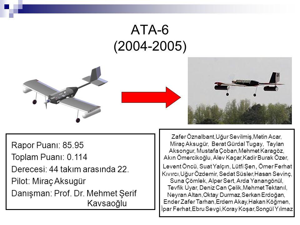 ATA-6 (2004-2005) Rapor Puanı: 85.95 Toplam Puanı: 0.114 Derecesi: 44 takım arasında 22. Pilot: Miraç Aksugür Danışman: Prof. Dr. Mehmet Şerif Kavsaoğ