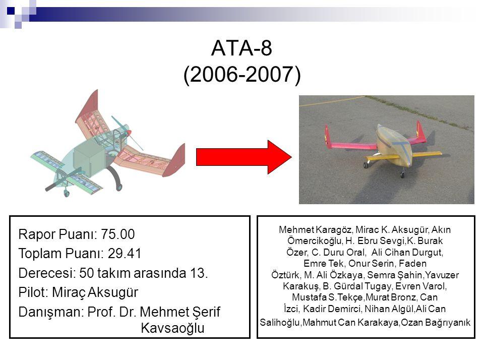 ATA-8 (2006-2007) Rapor Puanı: 75.00 Toplam Puanı: 29.41 Derecesi: 50 takım arasında 13. Pilot: Miraç Aksugür Danışman: Prof. Dr. Mehmet Şerif Kavsaoğ