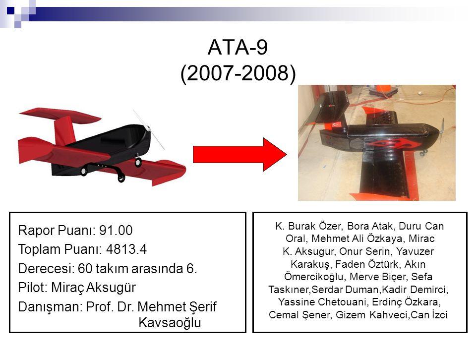 ATA-9 (2007-2008) Rapor Puanı: 91.00 Toplam Puanı: 4813.4 Derecesi: 60 takım arasında 6. Pilot: Miraç Aksugür Danışman: Prof. Dr. Mehmet Şerif Kavsaoğ