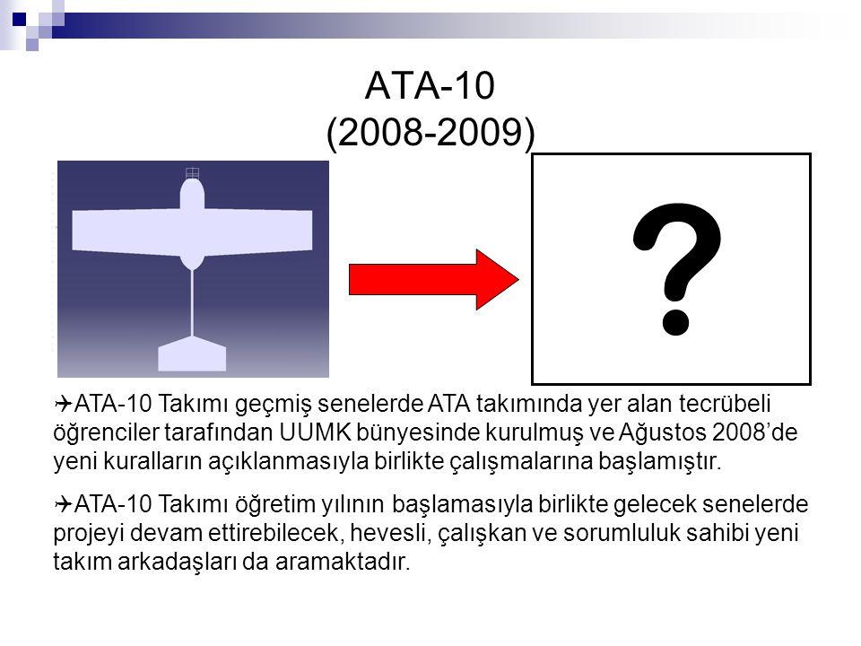 ATA-10 (2008-2009) ?  ATA-10 Takımı geçmiş senelerde ATA takımında yer alan tecrübeli öğrenciler tarafından UUMK bünyesinde kurulmuş ve Ağustos 2008'
