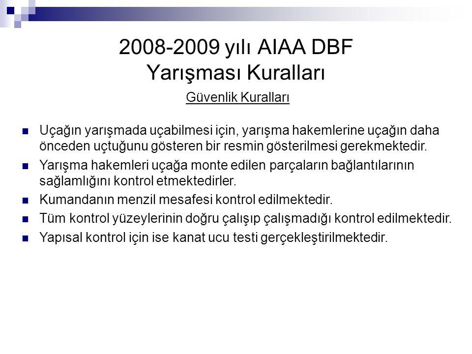 2008-2009 yılı AIAA DBF Yarışması Kuralları Güvenlik Kuralları Uçağın yarışmada uçabilmesi için, yarışma hakemlerine uçağın daha önceden uçtuğunu göst