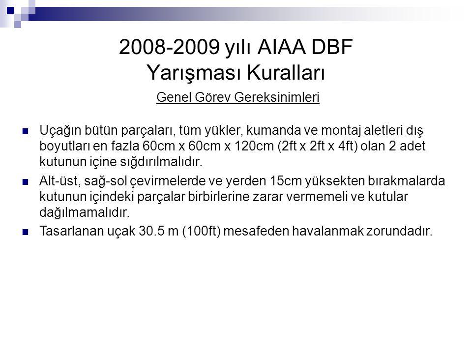 2008-2009 yılı AIAA DBF Yarışması Kuralları Genel Görev Gereksinimleri Uçağın bütün parçaları, tüm yükler, kumanda ve montaj aletleri dış boyutları en