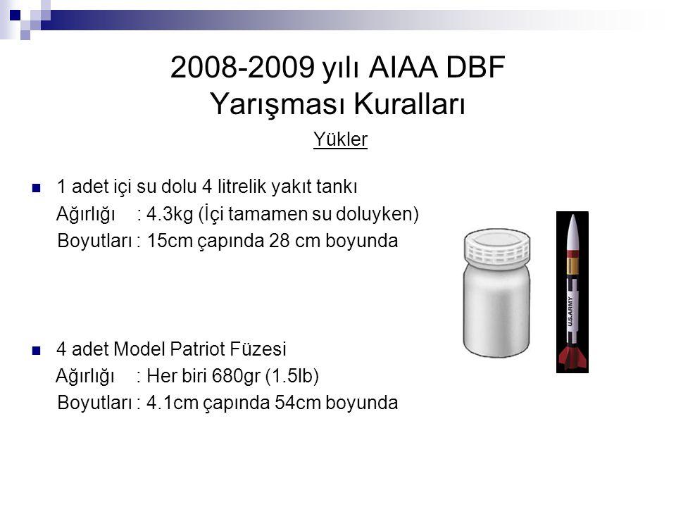 2008-2009 yılı AIAA DBF Yarışması Kuralları Yükler 1 adet içi su dolu 4 litrelik yakıt tankı Ağırlığı : 4.3kg (İçi tamamen su doluyken) Boyutları : 15