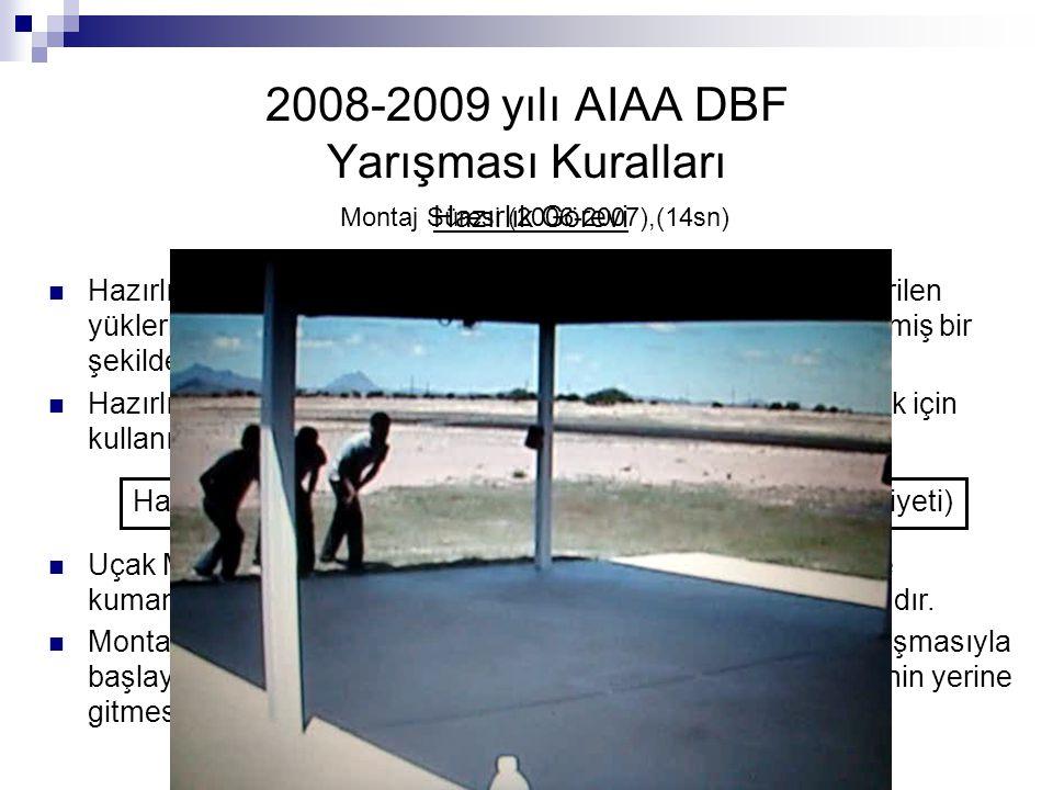 2008-2009 yılı AIAA DBF Yarışması Kuralları Hazırlık Görevi Hazırlık görevinde; takımlar kutu içinde yer alan uçaklarını, verilen yükleri ve kumandala