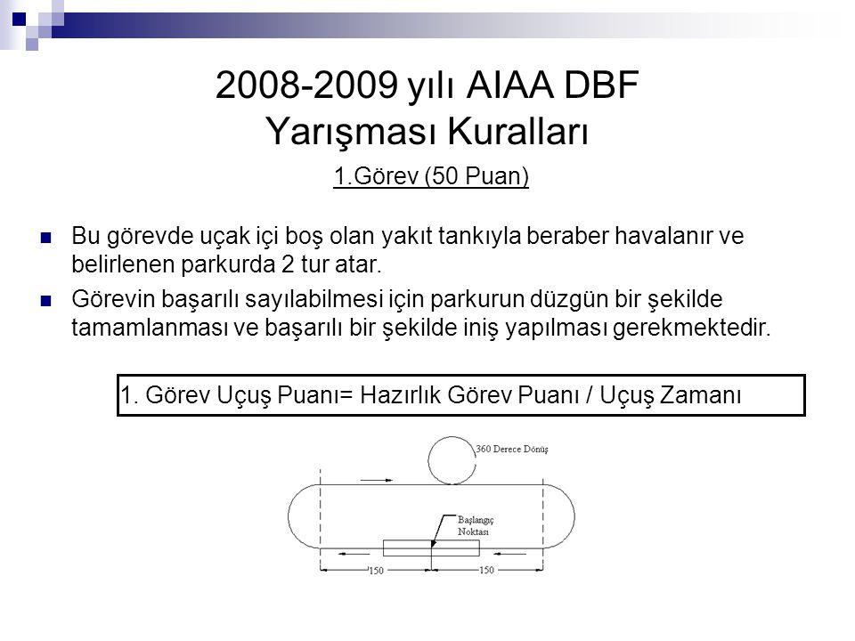 2008-2009 yılı AIAA DBF Yarışması Kuralları 1.Görev (50 Puan) Bu görevde uçak içi boş olan yakıt tankıyla beraber havalanır ve belirlenen parkurda 2 t