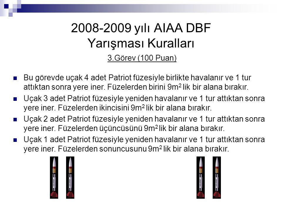2008-2009 yılı AIAA DBF Yarışması Kuralları 3.Görev (100 Puan) Bu görevde uçak 4 adet Patriot füzesiyle birlikte havalanır ve 1 tur attıktan sonra yer