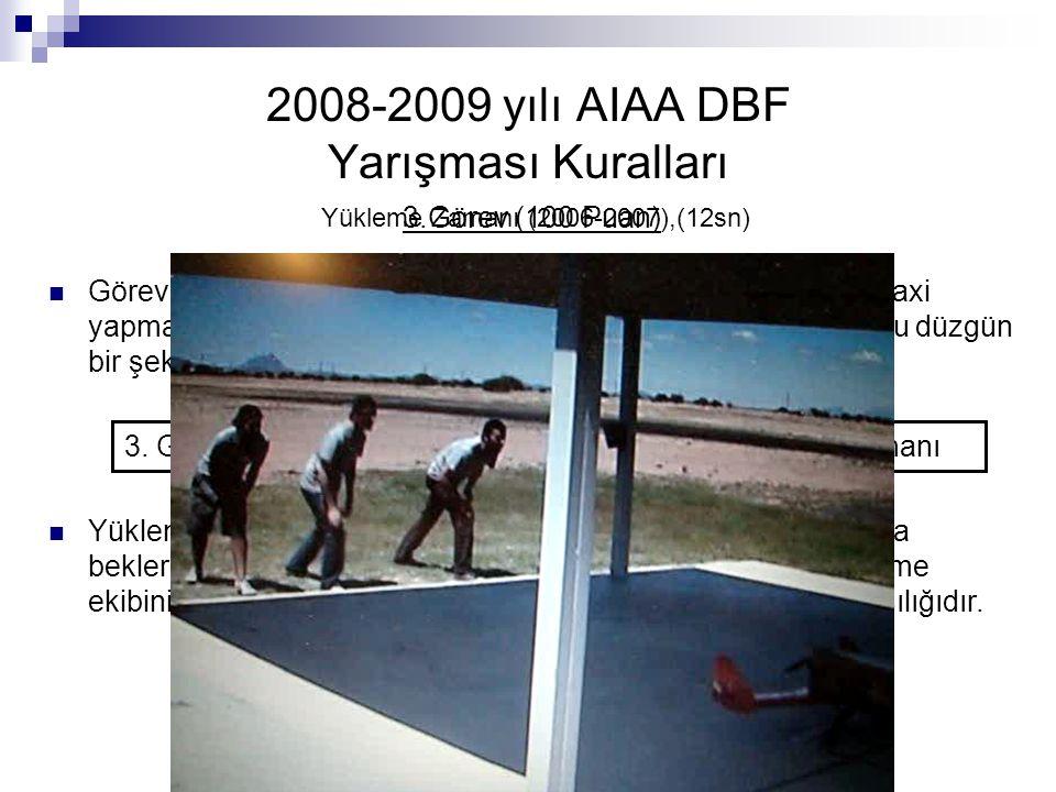 2008-2009 yılı AIAA DBF Yarışması Kuralları 3.Görev (100 Puan) Görevin başarılı sayılabilmesi için uçağın yere indikten sonra taxi yapması, yükleri be