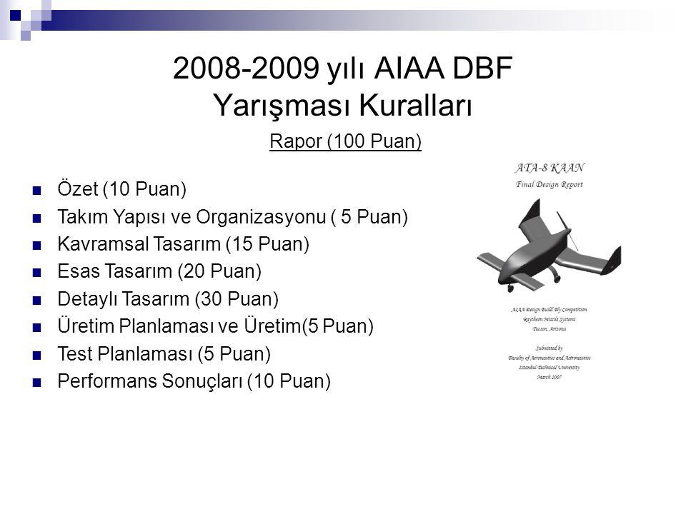 2008-2009 yılı AIAA DBF Yarışması Kuralları Rapor (100 Puan) Özet (10 Puan) Takım Yapısı ve Organizasyonu ( 5 Puan) Kavramsal Tasarım (15 Puan) Esas T
