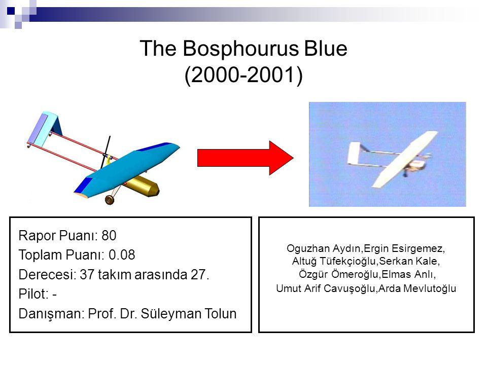 The Bosphourus Blue (2000-2001) Rapor Puanı: 80 Toplam Puanı: 0.08 Derecesi: 37 takım arasında 27. Pilot: - Danışman: Prof. Dr. Süleyman Tolun Oguzhan