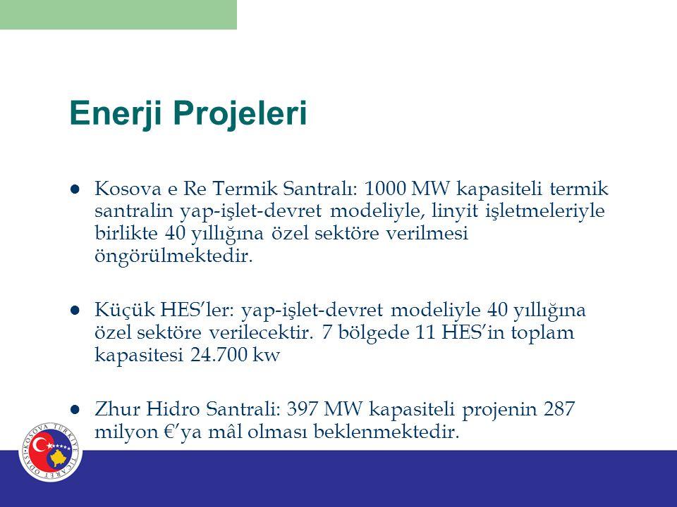 Enerji Projeleri Kosova e Re Termik Santralı: 1000 MW kapasiteli termik santralin yap-işlet-devret modeliyle, linyit işletmeleriyle birlikte 40 yıllığ