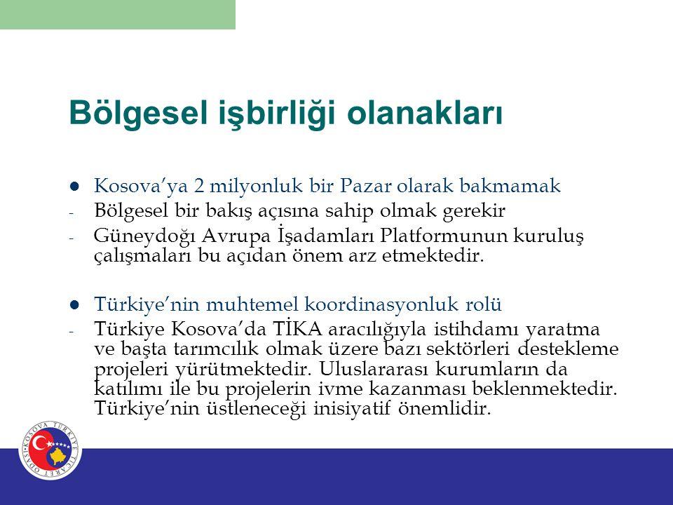 Bölgesel işbirliği olanakları Kosova'ya 2 milyonluk bir Pazar olarak bakmamak - Bölgesel bir bakış açısına sahip olmak gerekir - Güneydoğı Avrupa İşad