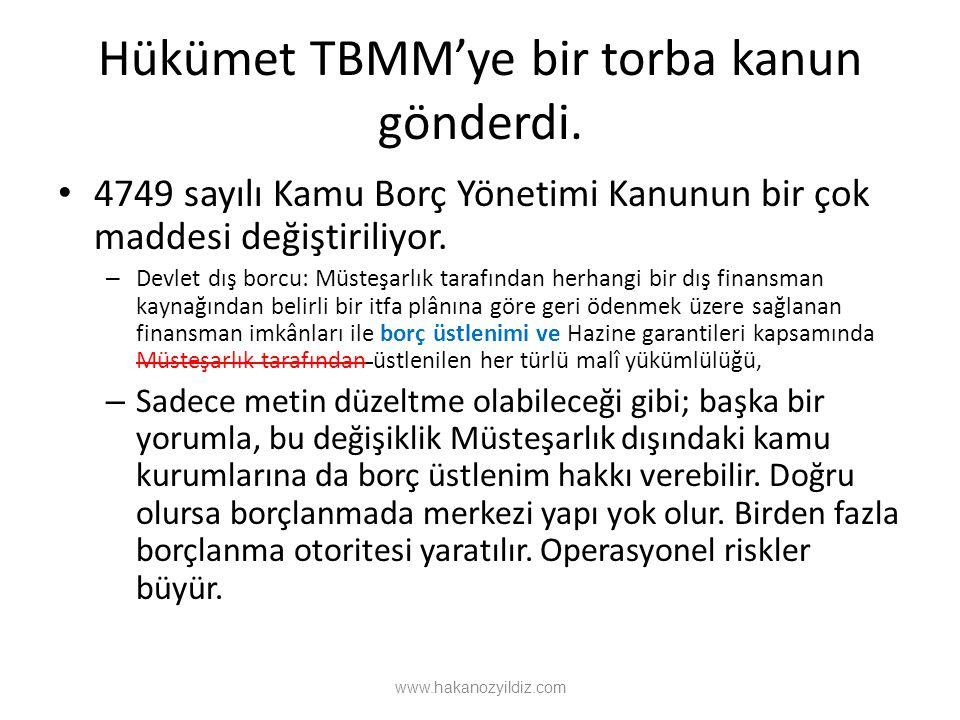 Hükümet TBMM'ye bir torba kanun gönderdi. 4749 sayılı Kamu Borç Yönetimi Kanunun bir çok maddesi değiştiriliyor. – Devlet dış borcu: Müsteşarlık taraf