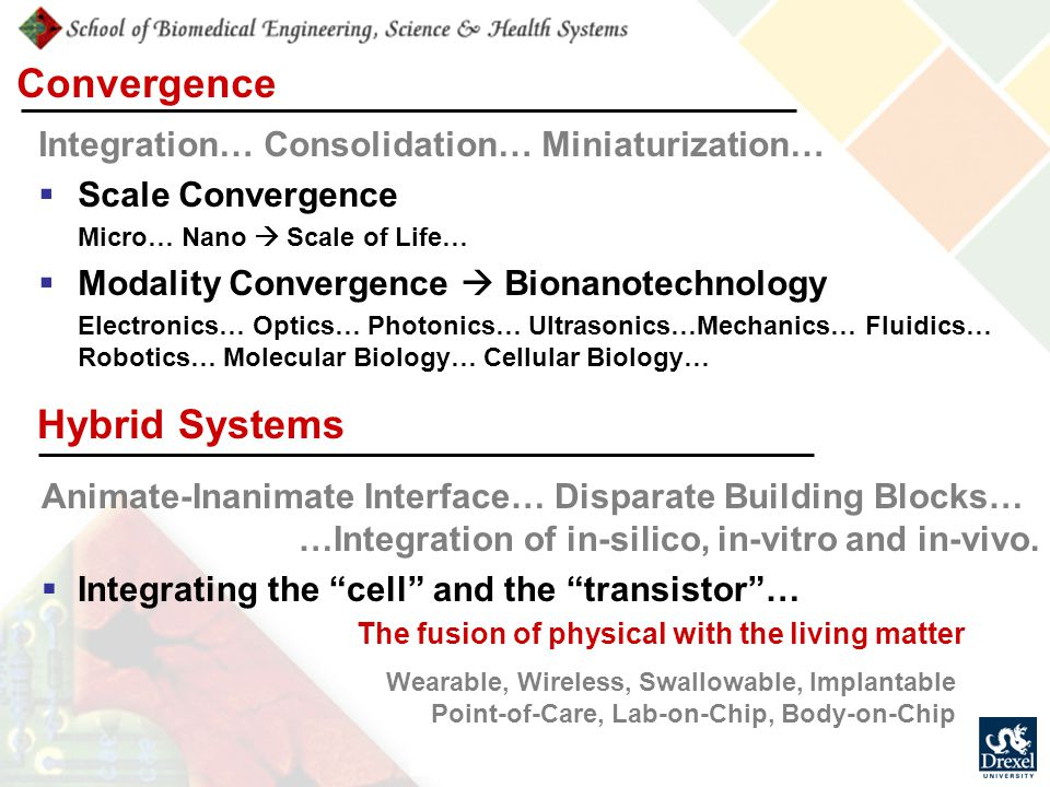Convergence Integration… Consolidation… Miniaturization…  Scale Convergence Micro… Nano  Scale of Life…  Modality Convergence  Bionanotechnology Electronics… Optics… Photonics… Ultrasonics…Mechanics… Fluidics… Robotics… Molecular Biology… Cellular Biology… Wearable, Wireless, Swallowable, Implantable Point-of-Care, Lab-on-Chip, Body-on-Chip Hybrid Systems Animate-Inanimate Interface… Disparate Building Blocks… …Integration of in-silico, in-vitro and in-vivo.