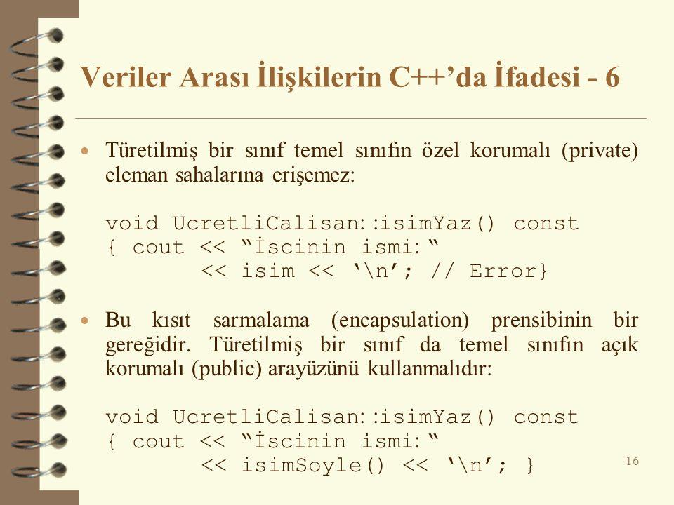 Veriler Arası İlişkilerin C++'da İfadesi - 6  Türetilmiş bir sınıf temel sınıfın özel korumalı (private) eleman sahalarına erişemez: void UcretliCalisan : : isimYaz() const { cout << İscinin ismi : << isim << '\n'; // Error}  Bu kısıt sarmalama (encapsulation) prensibinin bir gereğidir.