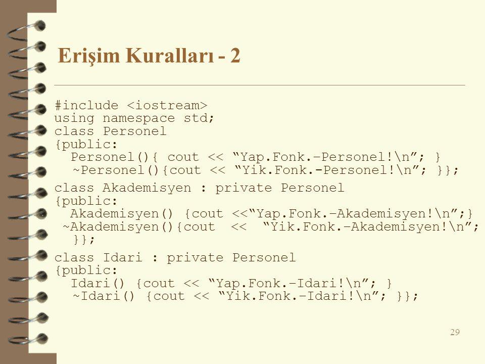 Erişim Kuralları - 2 #include using namespace std; class Personel {public: Personel(){ cout << Yap.Fonk.–Personel!\n ; } ~Personel(){cout << Yik.Fonk.-Personel!\n ; }}; class Akademisyen : private Personel {public: Akademisyen() {cout << Yap.Fonk.–Akademisyen!\n ;} ~Akademisyen(){cout << Yik.Fonk.–Akademisyen!\n ; }}; class Idari : private Personel {public: Idari() {cout << Yap.Fonk.–Idari!\n ; } ~Idari() {cout << Yik.Fonk.–Idari!\n ; }}; 29
