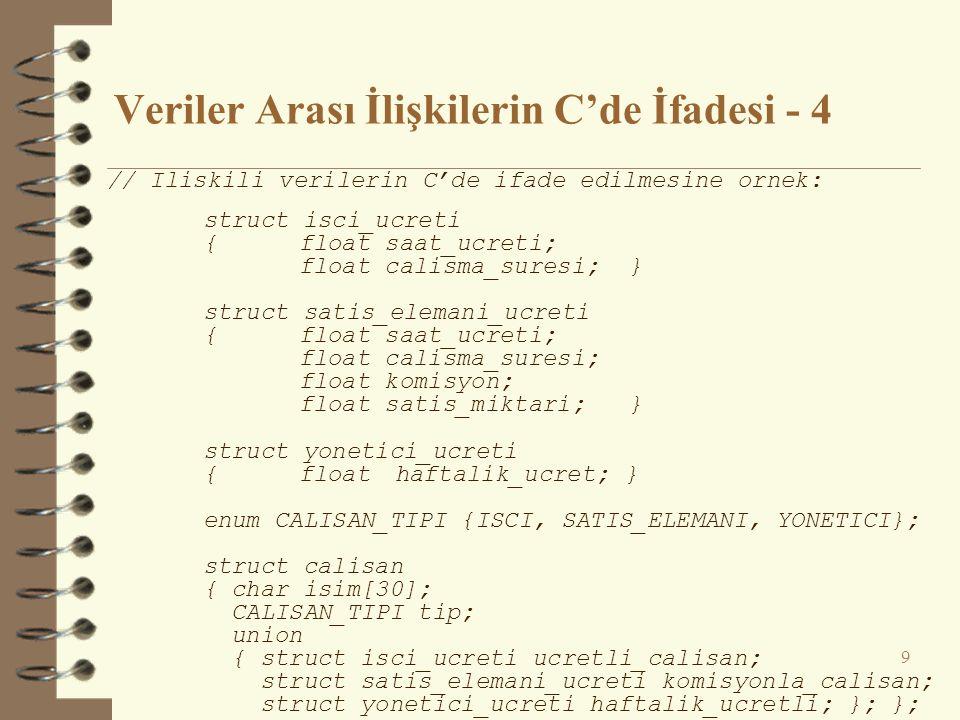 Veriler Arası İlişkilerin C'de İfadesi - 4 9 // Iliskili verilerin C'de ifade edilmesine ornek: struct isci_ucreti {float saat_ucreti; float calisma_s
