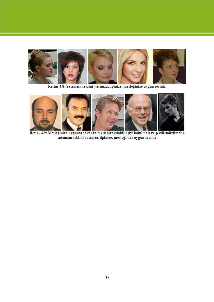 33 Resim 4.8: Saçınızın şeklini yaşınıza, tipinize, mesleğinize uygun seçiniz Resim 4.9: Mesleğinize uygunsa sakal ve bıyık bırakılabilir (iyi bakılma