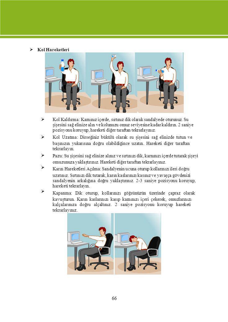  Kol Hareketleri  Kol Kaldırma: Karnınız içerde, sırtınız dik olarak sandalyede oturunuz. Su şişesini sağ elinize alın ve kolunuzu omuz se
