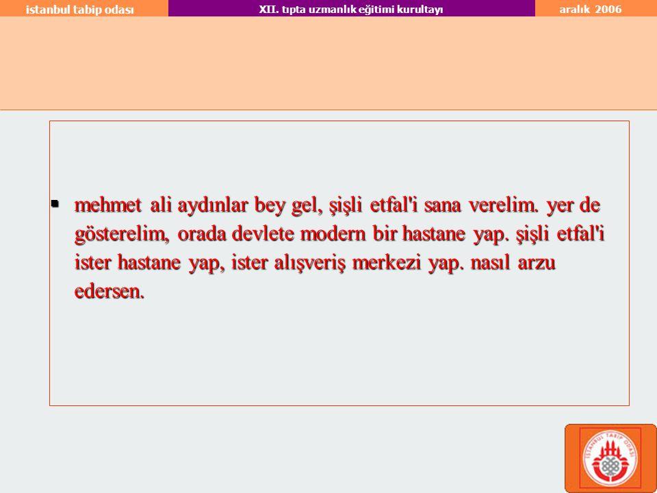 aralık 2006 istanbul tabip odası XII.