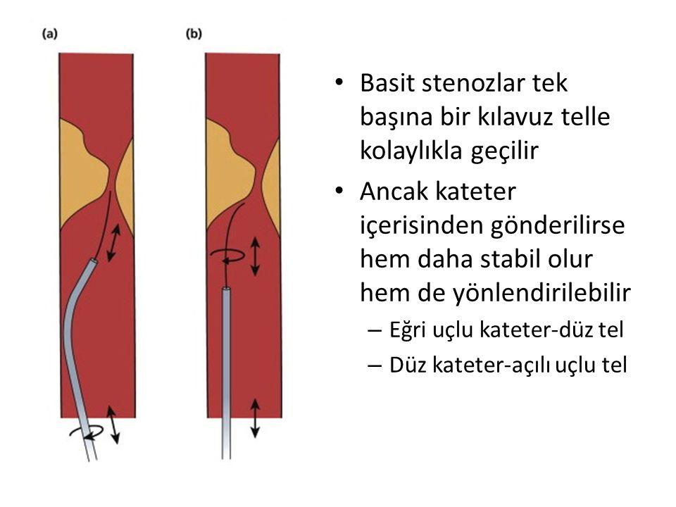 Basit stenozlar tek başına bir kılavuz telle kolaylıkla geçilir Ancak kateter içerisinden gönderilirse hem daha stabil olur hem de yönlendirilebilir – Eğri uçlu kateter-düz tel – Düz kateter-açılı uçlu tel