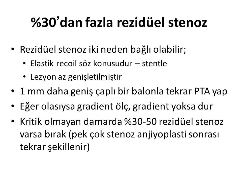 %30'dan fazla rezidüel stenoz Rezidüel stenoz iki neden bağlı olabilir; Elastik recoil söz konusudur – stentle Lezyon az genişletilmiştir 1 mm daha ge