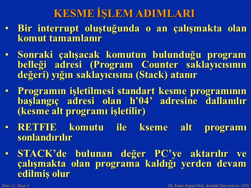 Dr. Emin Argun Oral, Atatürk Üniversitesi 2008 Ders 12, Slayt 4 KESME İŞLEM ADIMLARI Bir interrupt oluştuğunda o an çalışmakta olan komut tamamlanırBi