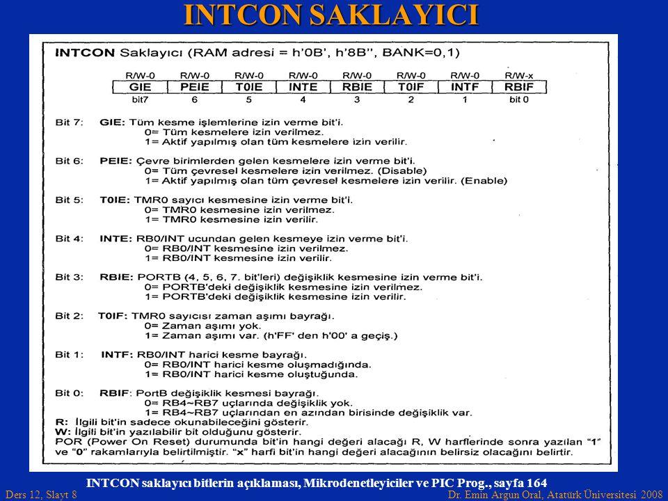 Dr. Emin Argun Oral, Atatürk Üniversitesi 2008 Ders 12, Slayt 8 INTCON SAKLAYICI INTCON saklayıcı bitlerin açıklaması, Mikrodenetleyiciler ve PIC Prog