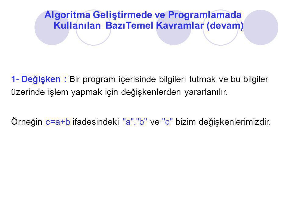 2-Atama: Herhangi bir değişkenin içine bir değeri veya ifadenin/işlemin sonucunu aktarma işlemidir.
