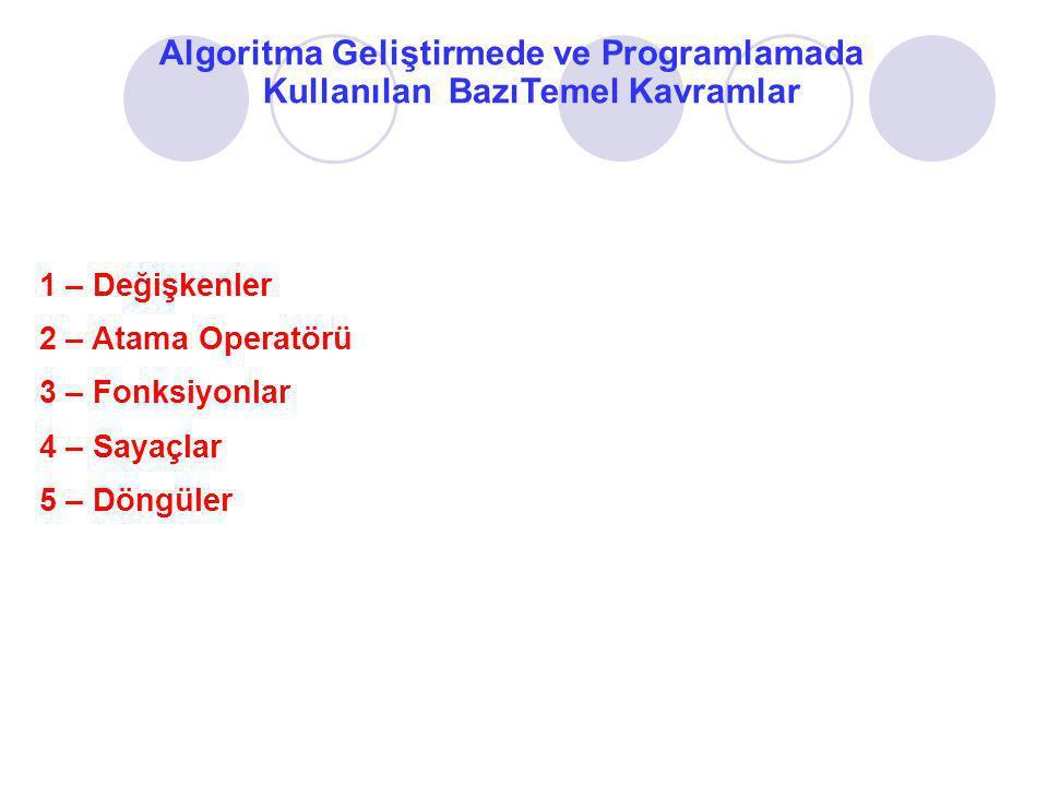 Algoritma Geliştirmede ve Programlamada Kullanılan BazıTemel Kavramlar (devam) 1- Değişken : Bir program içerisinde bilgileri tutmak ve bu bilgiler üzerinde işlem yapmak için değişkenlerden yararlanılır.