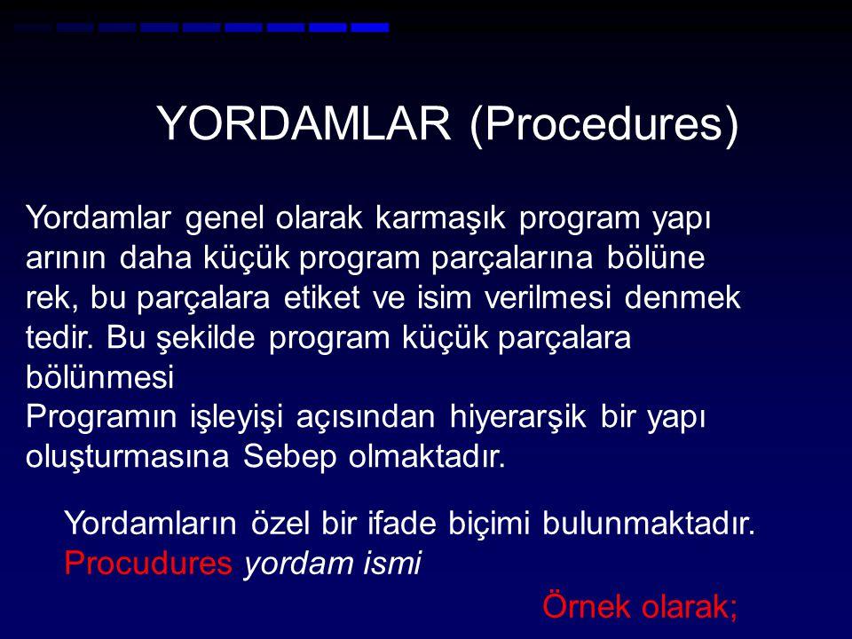 YORDAMLAR (Procedures) Yordamlar genel olarak karmaşık program yapı arının daha küçük program parçalarına bölüne rek, bu parçalara etiket ve isim verilmesi denmek tedir.