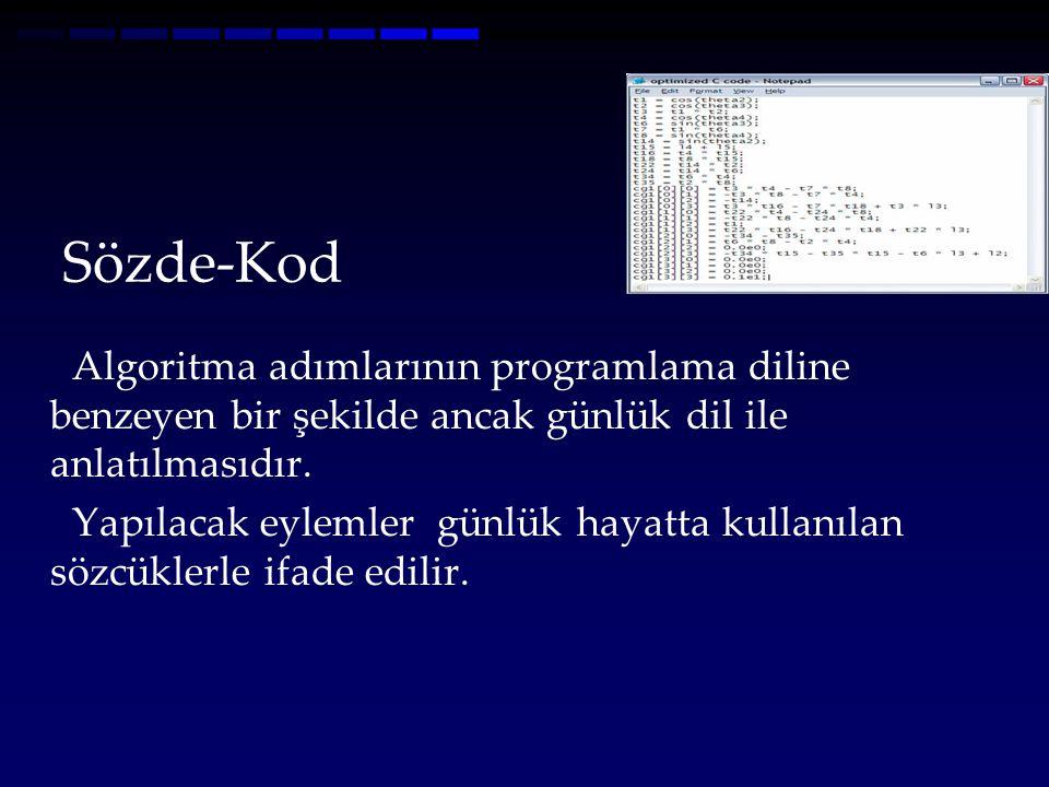 Sözde-Kod Algoritma adımlarının programlama diline benzeyen bir şekilde ancak günlük dil ile anlatılmasıdır. Yapılacak eylemler günlük hayatta kullanı