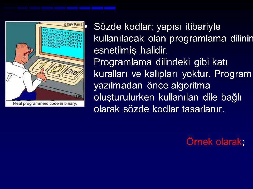 Sözde kodlar; yapısı itibariyle kullanılacak olan programlama dilinin esnetilmiş halidir. Programlama dilindeki gibi katı kuralları ve kalıpları yoktu