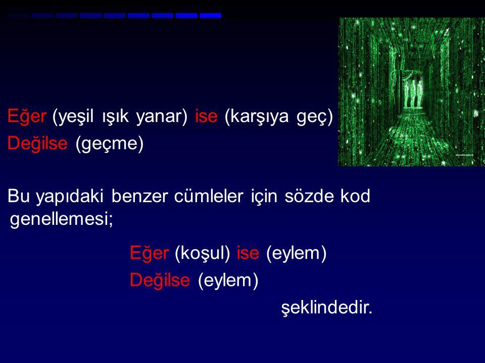 Eğer (yeşil ışık yanar) ise (karşıya geç) Değilse (geçme) Bu yapıdaki benzer cümleler için sözde kod genellemesi; Eğer (koşul) ise (eylem) Değilse (eylem) şeklindedir.