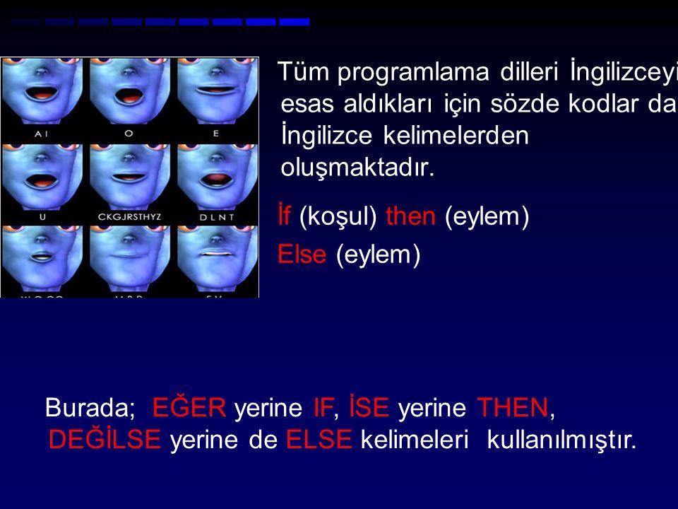 Tüm programlama dilleri İngilizceyi esas aldıkları için sözde kodlar da İngilizce kelimelerden oluşmaktadır. İf (koşul) then (eylem) Else (eylem) Bura