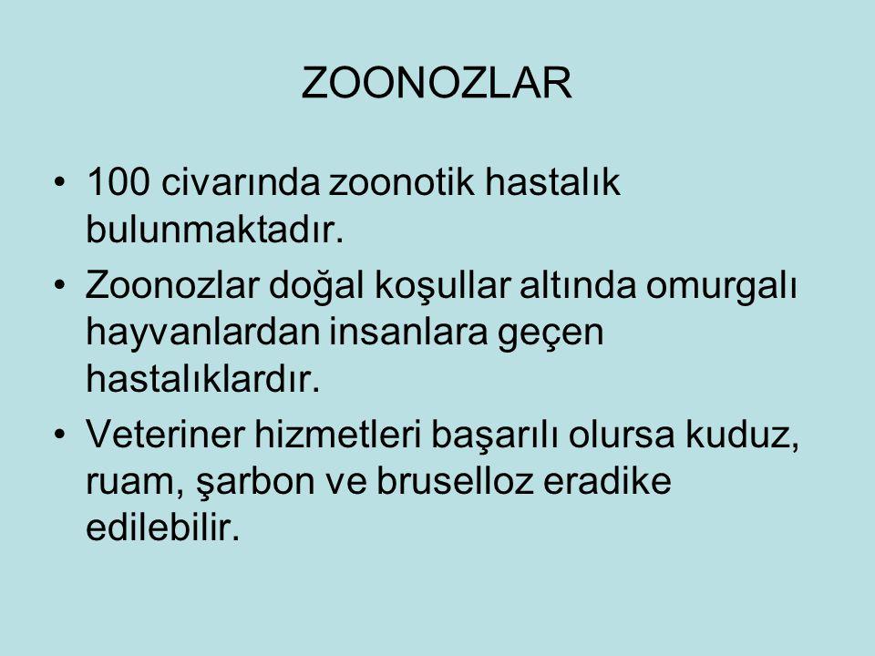 ZOONOZLAR 100 civarında zoonotik hastalık bulunmaktadır. Zoonozlar doğal koşullar altında omurgalı hayvanlardan insanlara geçen hastalıklardır. Veteri