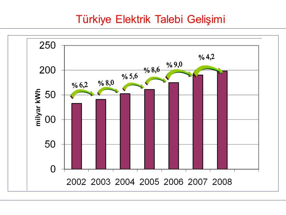 Türkiye Elektrik Talebi Gelişimi milyar kWh