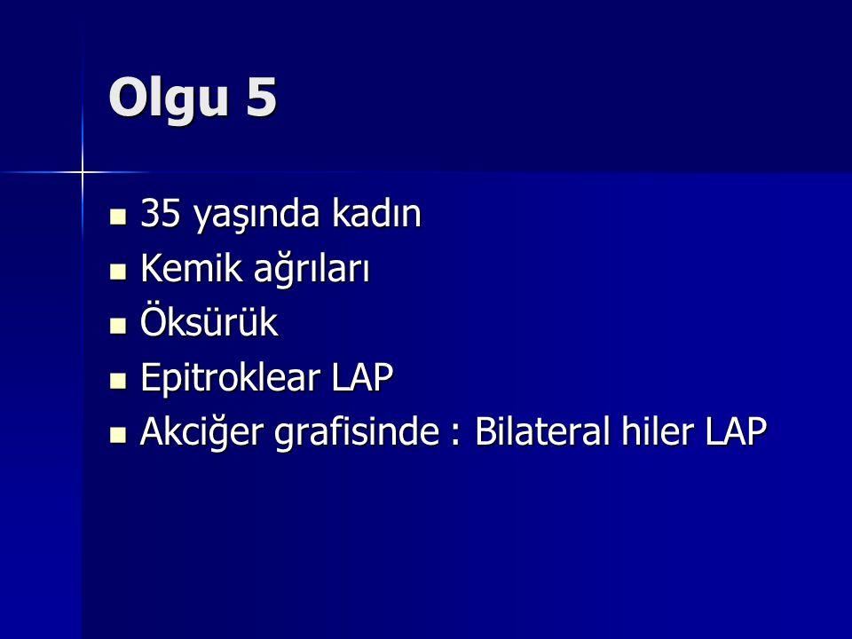 Olgu 5 35 yaşında kadın 35 yaşında kadın Kemik ağrıları Kemik ağrıları Öksürük Öksürük Epitroklear LAP Epitroklear LAP Akciğer grafisinde : Bilateral