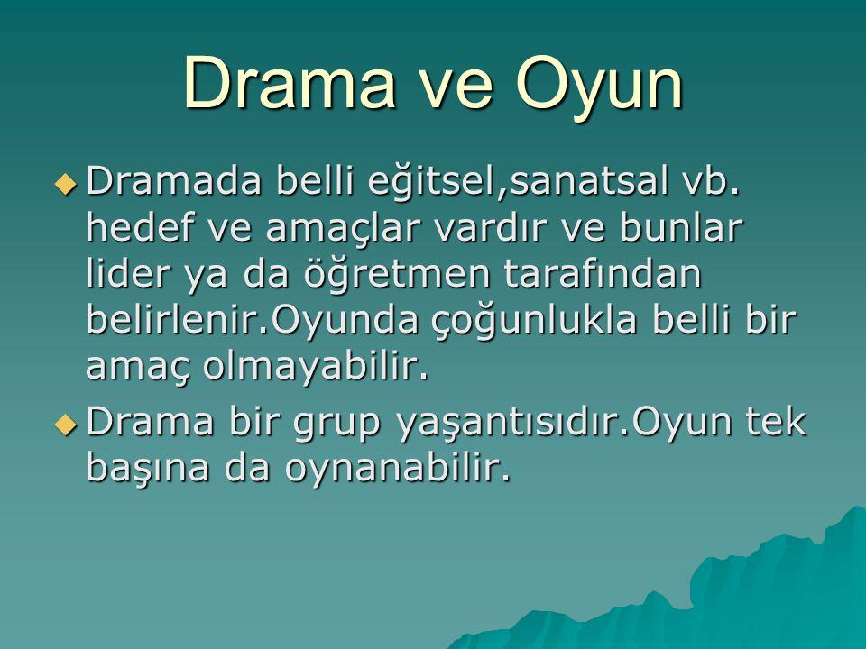 Drama ve Oyun  Dramada belli eğitsel,sanatsal vb.