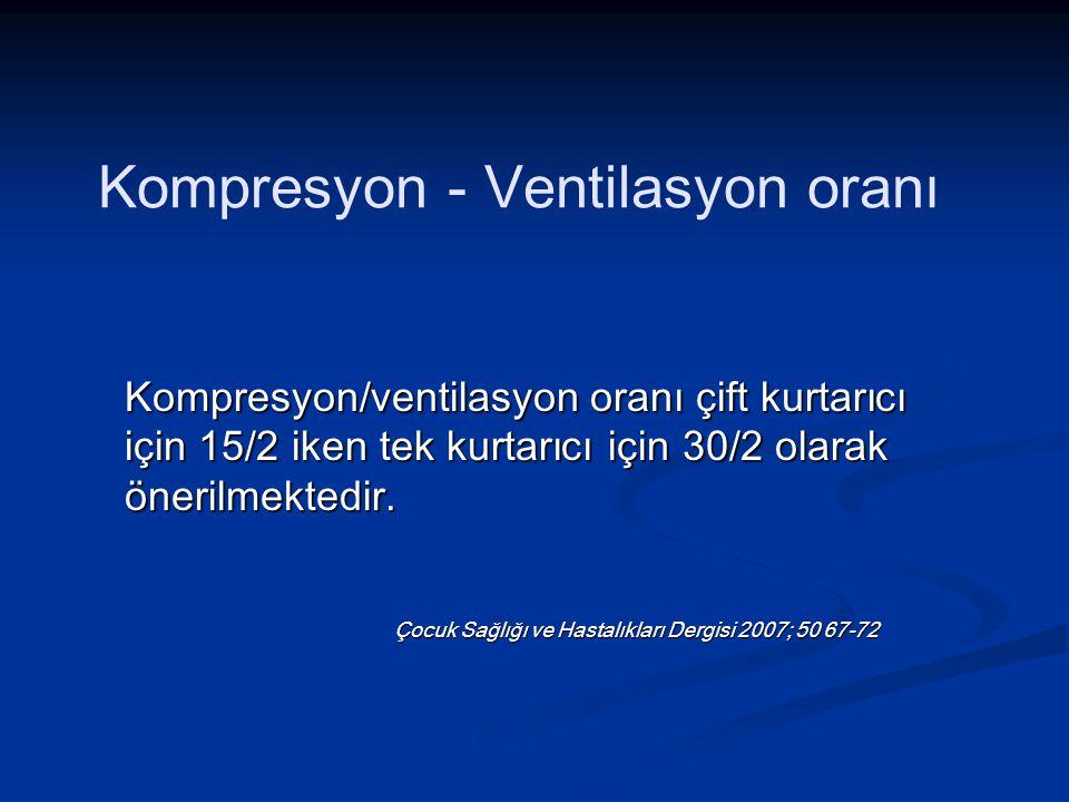 Kompresyon - Ventilasyon oranı Kompresyon/ventilasyon oranı çift kurtarıcı için 15/2 iken tek kurtarıcı için 30/2 olarak önerilmektedir.