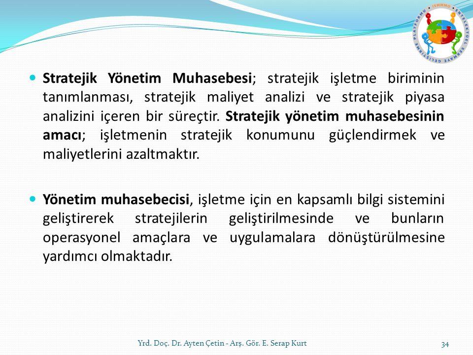 Stratejik Yönetim Muhasebesi; stratejik işletme biriminin tanımlanması, stratejik maliyet analizi ve stratejik piyasa analizini içeren bir süreçtir. S