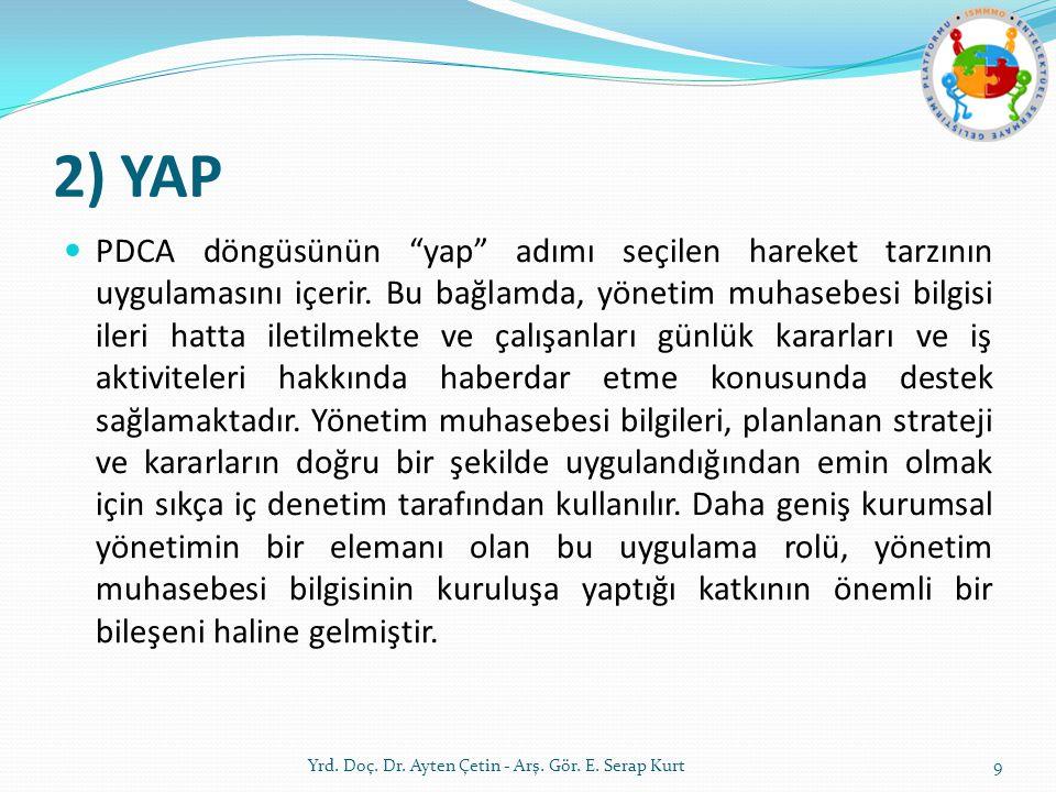 """2) YAP PDCA döngüsünün """"yap"""" adımı seçilen hareket tarzının uygulamasını içerir. Bu bağlamda, yönetim muhasebesi bilgisi ileri hatta iletilmekte ve ça"""