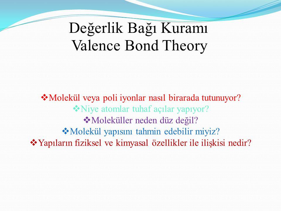 Valence Bond Theory Değerlik Bağı Kuramı  Molekül veya poli iyonlar nasıl birarada tutunuyor.