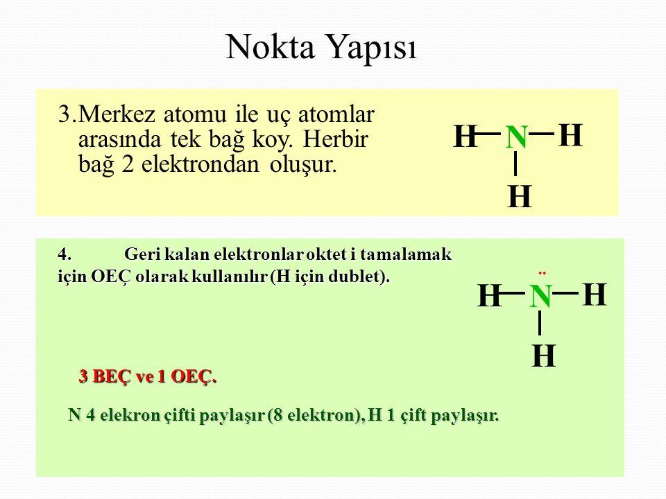 3.Merkez atomu ile uç atomlar arasında tek bağ koy.