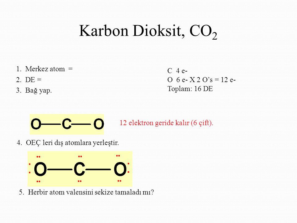 Karbon Dioksit, CO 2 1.Merkez atom = 2. DE = 3. Bağ yap.