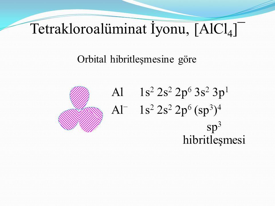 Tetrakloroalüminat İyonu, [AlCl 4 ]¯ Orbital hibritleşmesine göre Al1s 2 2s 2 2p 6 3s 2 3p 1 Al – 1s 2 2s 2 2p 6 (sp 3 ) 4 sp 3 hibritleşmesi