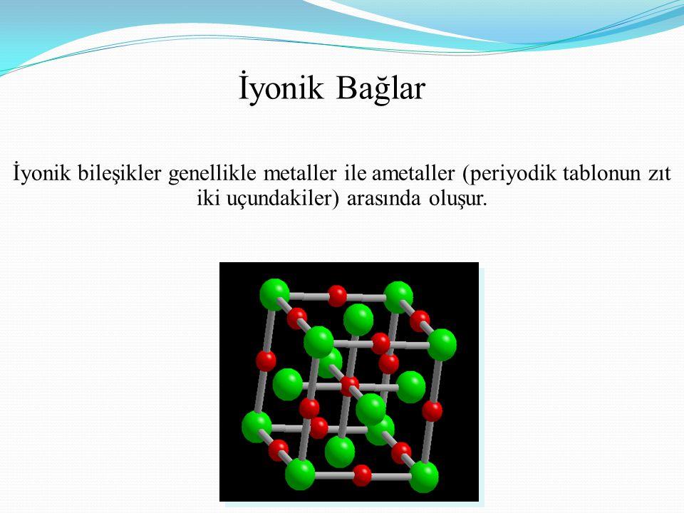 İyonik bileşikler genellikle metaller ile ametaller (periyodik tablonun zıt iki uçundakiler) arasında oluşur.