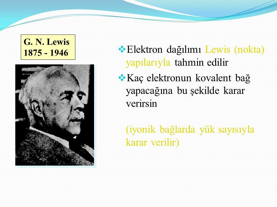  Elektron dağılımı Lewis (nokta) yapılarıyla tahmin edilir  Kaç elektronun kovalent bağ yapacağına bu şekilde karar verirsin (iyonik bağlarda yük sayısıyla karar verilir) G.