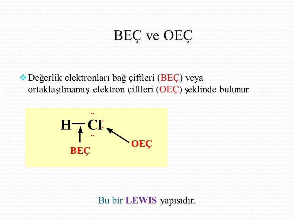 BEÇ ve OEÇ  Değerlik elektronları bağ çiftleri (BEÇ) veya ortaklaşılmamış elektron çiftleri (OEÇ) şeklinde bulunur HCl OEÇ BEÇ Bu bir LEWIS yapısıdır.